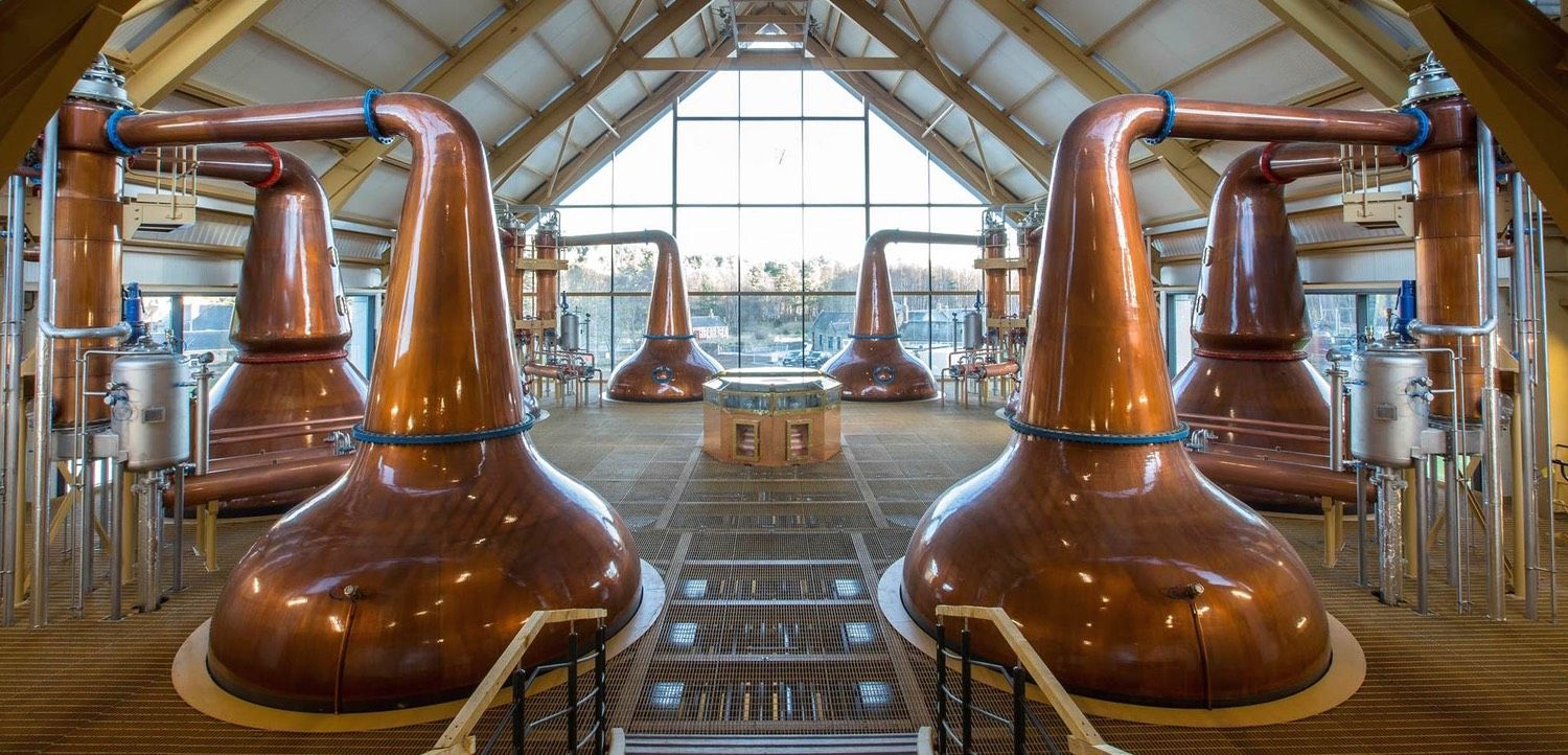 The copper stills in which 10 year old whisky is created for your benefit.